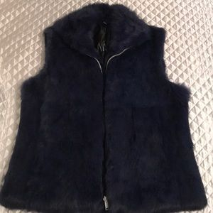 Dark blue genuine rabbit fur vest